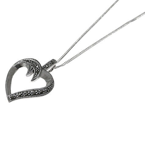 Buy Goldmajor Marcasite Heart Pendant Necklace, Silver Online at johnlewis.com