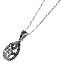 Buy Goldmajor Marcasite Teardrop Pendant Necklace, Silver Online at johnlewis.com