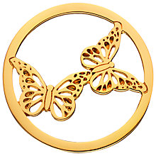 Buy Daisy Gold Vermeil Double Butterfly Pendant Coin, Gold Online at johnlewis.com