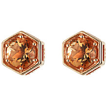 Buy Daisy Citrine Hexagonal Gold Plated Stud Earrings, Gold Online at johnlewis.com