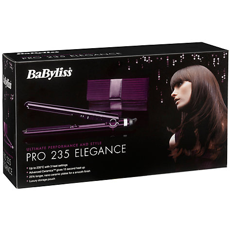 Buy BaByliss Pro 235 Elegance Hair Straighteners, Purple Online at johnlewis.com