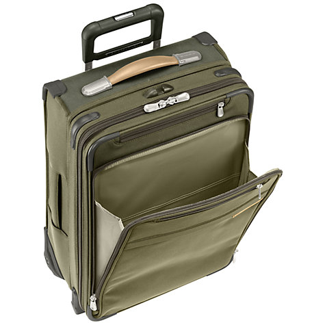 Buy Briggs & Riley Baseline Carry-on Expandable 2-Wheel 53.3cm Cabin Suitcase, Olive Online at johnlewis.com