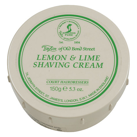 Buy Taylor of Old Bond Street Lemon and Lime Shaving Cream, 150g Online at johnlewis.com