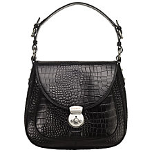 Buy OSPREY LONDON Purdey Leather Croc Print Shoulder Handbag, Black Online at johnlewis.com