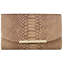 Buy John Lewis Nikki Snake Print Clutch, Coffee Online at johnlewis.com