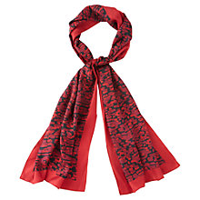 Buy Viyella Printed Silk Scarf, Black/Red Online at johnlewis.com