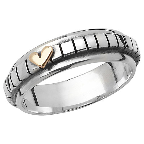 Buy Linda Macdonald Stripe Gold Heart Ring, Silver, N Online at johnlewis.com