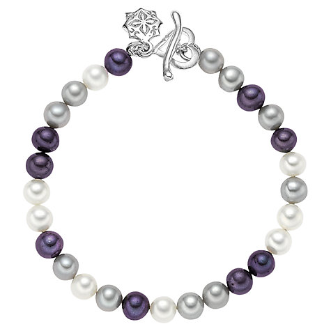 Buy Dower & Hall Mixed Pearl Sterling Silver Bracelet, Grey Online at johnlewis.com