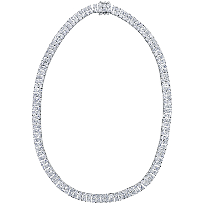 Jools by Jenny Brown 2 Row Cubic Zirconia Tennis Necklace, Silver