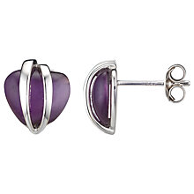 Buy A B Davis Polished Sterling Silver Caged Heart Stud Earrings, Amethyst Online at johnlewis.com