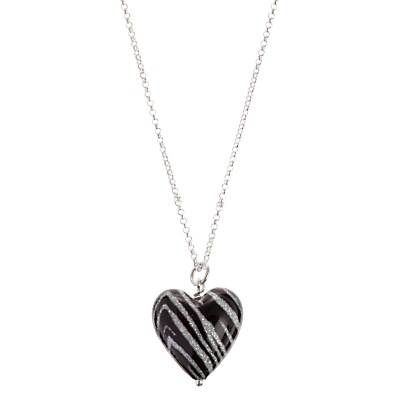 Martick Animal Print Murano Heart Necklace
