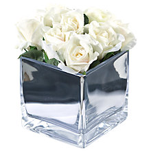 Buy Peony Roses In Glass Cube, Large Online at johnlewis.com