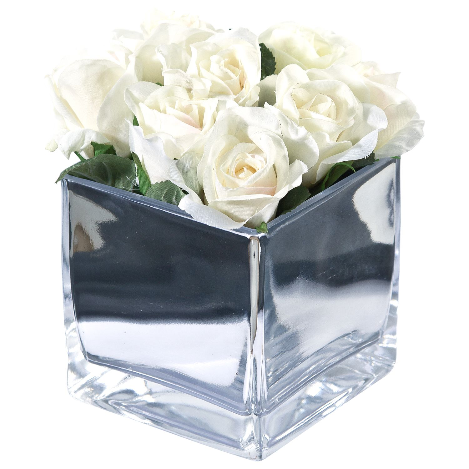 Peony Roses In Glass Cube, Large