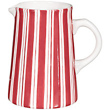 Buy John Lewis Marina Stripe Jug, Coast Red Online at johnlewis.com