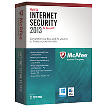Buy McAfee Dual Protection 2013, Mac & Windows - 1 User Pack Online at johnlewis.com