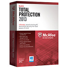 Buy McAfee Total Protection 2013, 3 User Online at johnlewis.com