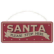 Buy East of India Hanging Sign, Santa Please Stop Here, Red Online at johnlewis.com