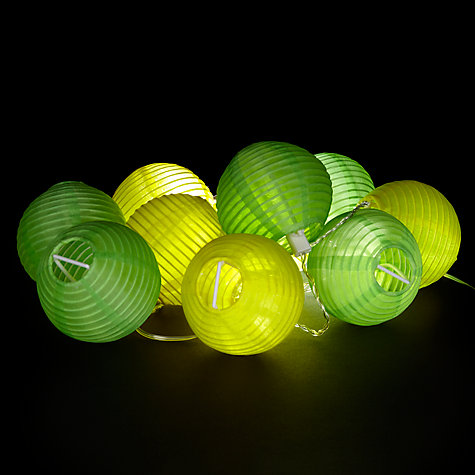 Buy House by John Lewis Solar String Lanterns, Yellow/ Green, x10 Online at johnlewis.com