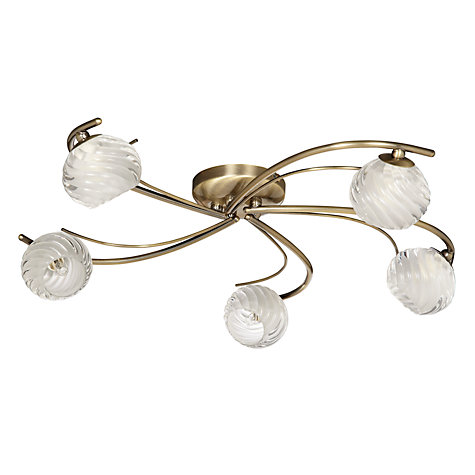 Buy John Lewis Hugo Semi-flush Light, Antique Brass, 5 Light Online at johnlewis.com