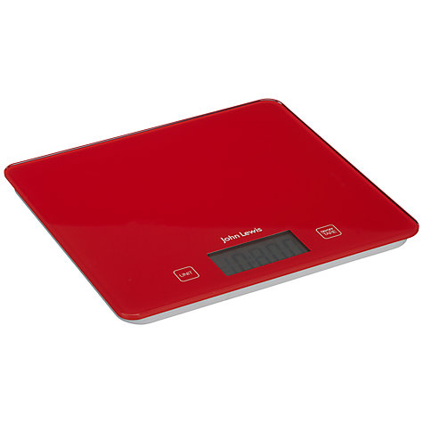 Buy John Lewis Glass Digital Kitchen Scale, 5kg, Red Online at johnlewis.com