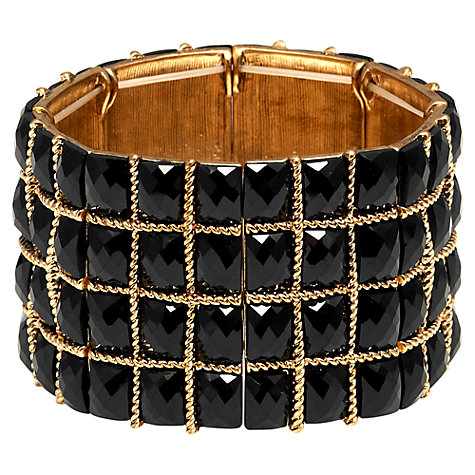 Buy Adele Marie Black Faceted Glass Cuff Bracelet, Black / Gold Online at johnlewis.com