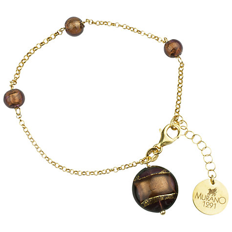 Buy Murano 1291 18ct Gold Plated Murano Glass Bead Bracelet Online at johnlewis.com