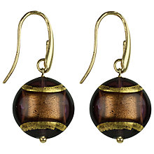 Buy Murano 1291 Gold Leaf Elements Murano Glass Ariel Amethyst Hook Earrings Online at johnlewis.com