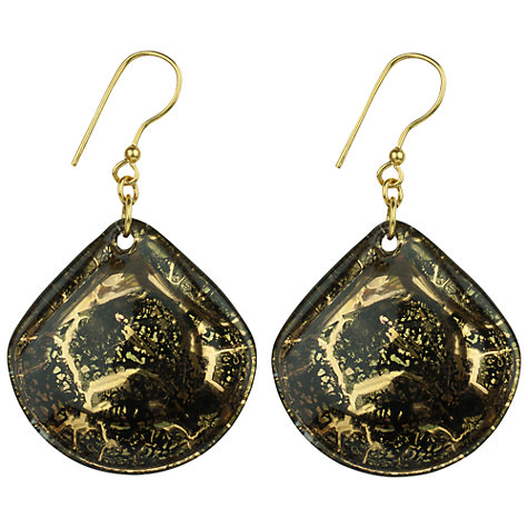 Buy Murano 1291 Gold Leaf Elements Murano Glass Sharamare Fan Hook Earrings Online at johnlewis.com