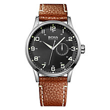 Buy BOSS 1512723 Men's Black Dial Leather Strap Watch, Brown Online at johnlewis.com