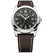 Buy Victorinox Men's Infantry Black Dial Leather Strap Watch Online at johnlewis.com
