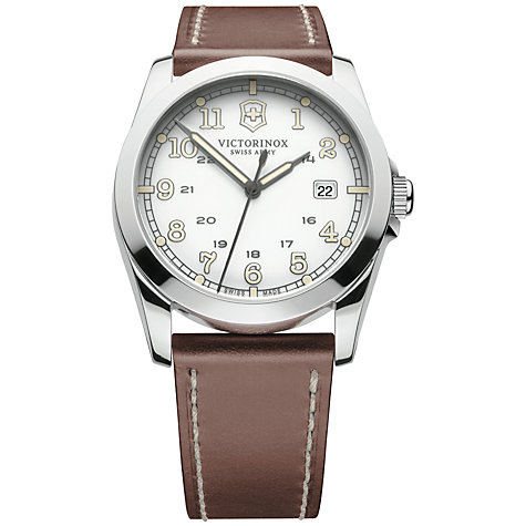 Buy Victorinox 241564 Men's Infantry Vintage Leather Strap Watch, Brown Online at johnlewis.com