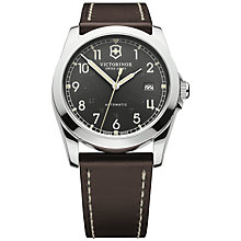 Buy Victorinox 241565 Men's Infantry Vintage Leather Strap Watch, Black Online at johnlewis.com