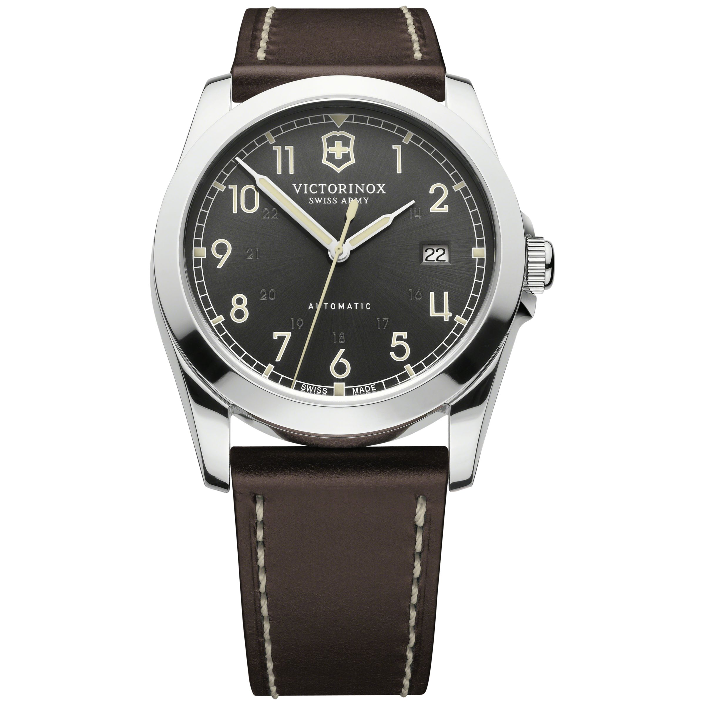 Victorinox Victorinox 241565 Men's Infantry Vintage Leather Strap Watch, Brown/Black