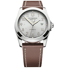 Buy Victorinox 241566 Men's Infantry Mechanical Silver Dial Leather Strap Watch, Brown Online at johnlewis.com