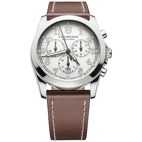 Buy Victorinox 241568 Men's Infantry Chronograph Leather Strap Watch, Brown Online at johnlewis.com