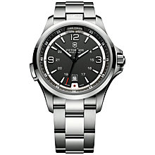 Buy Victorinox 241569 Men's Night Vision Dark Grey Dial Bracelet Strap Watch, Silver Online at johnlewis.com