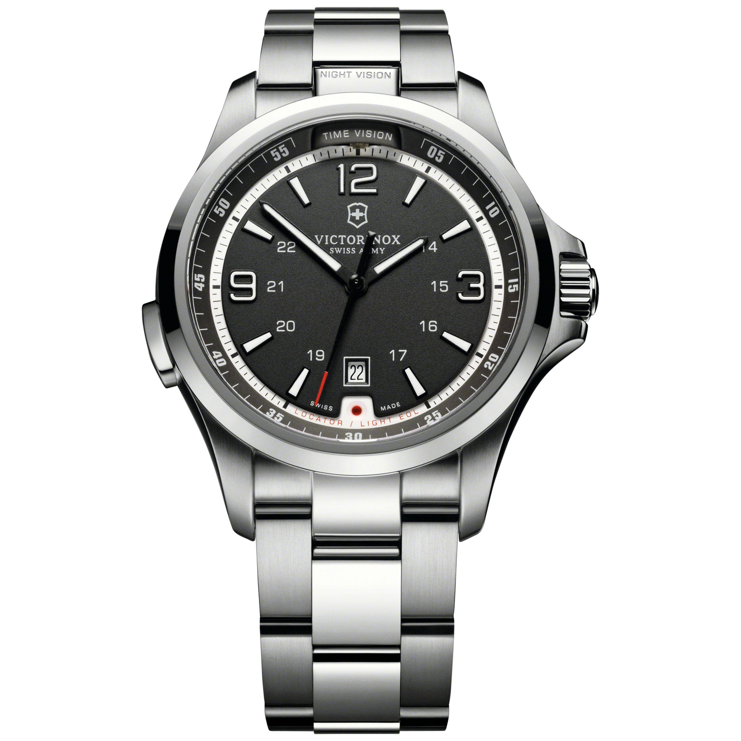 Victorinox Victorinox 241569 Men's Night Vision Bracelet Strap Watch, Silver/Black