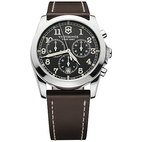 Buy Victorinox 242567 Men's Infantry Chronograph Leather Strap Watch, Black Online at johnlewis.com