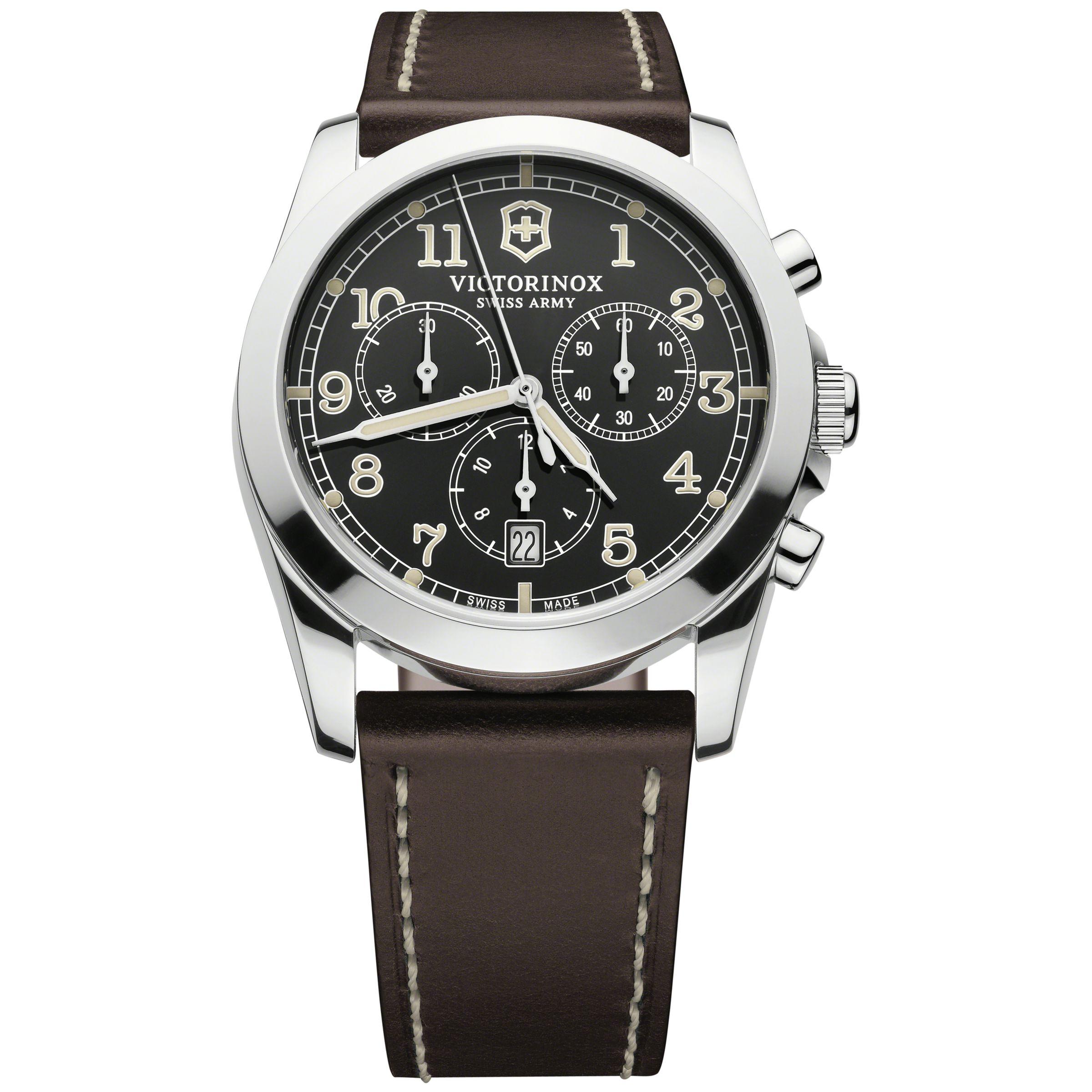 Victorinox Victorinox 242567 Men's Infantry Chronograph Leather Strap Watch, Brown/Black