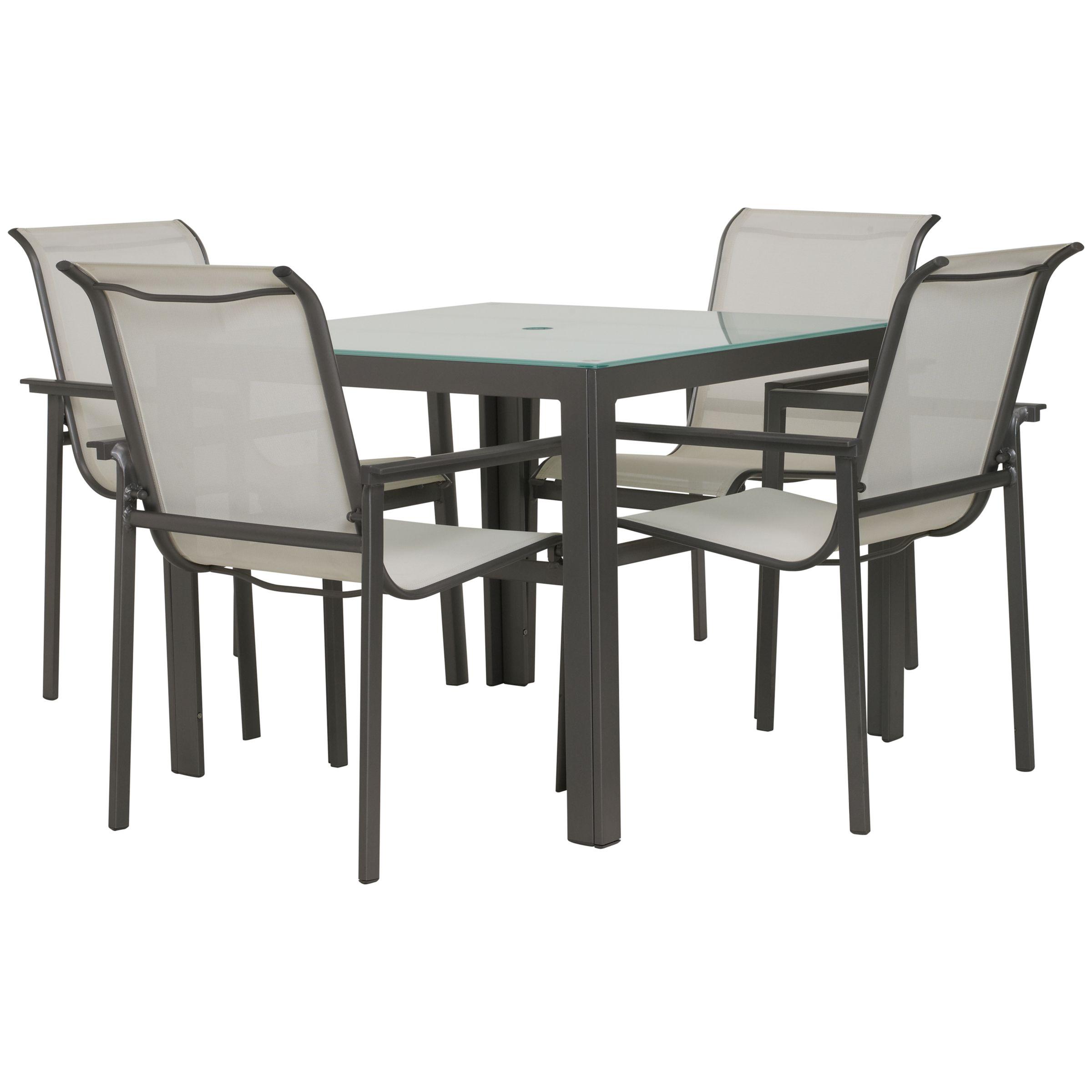John Lewis Milo Rectangular 4 Seater Outdoor Dining Set, White
