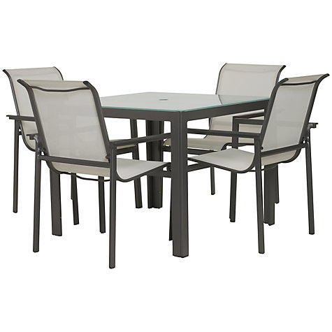 Buy John Lewis Milo Rectangular 4 Seater Outdoor Dining Set, White Online at johnlewis.com