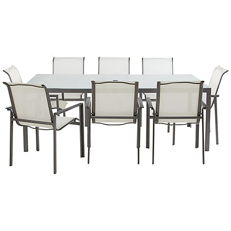 Buy John Lewis Milo Rectangular 8 Seater Outdoor Dining Set, White Online at johnlewis.com