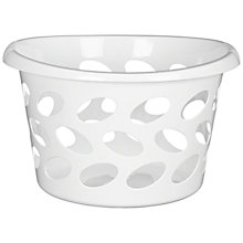 Buy John Lewis Round Laundry Basket, White, Small Online at johnlewis.com