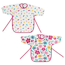 Buy John Lewis Baby Happy Mix Terry Bibs, Pack of 2, Pink Online at johnlewis.com