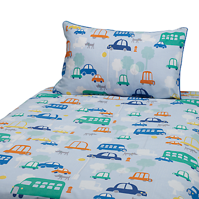 John Lewis Transport Cotbed Duvet Cover And Pillow Set Blue Multi