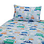 John Lewis Transport Cotbed Duvet Cover and Pillow Set, Blue/Multi