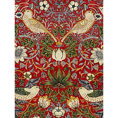Morris & Co Strawberry Thief PVC Tablecloth Fabric, Crimson