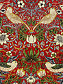 William Morris Strawberry Thief Tablecloth Fabric, Crimson