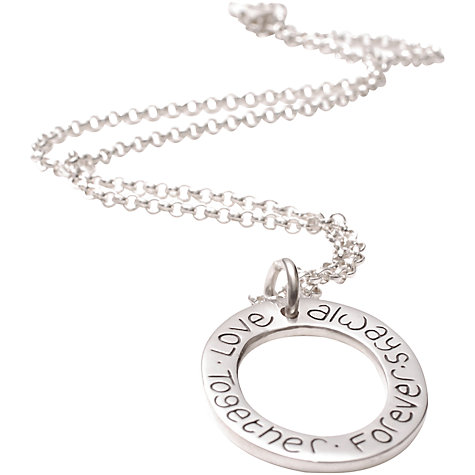 Buy FingerPrint Jewellery Oval Cluster Ring Necklace, Silver Online at johnlewis.com