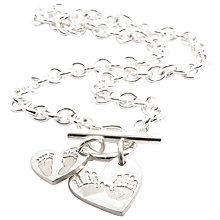 Buy FingerPrint Jewellery Ten Tiny Toes Heart Pendant and Charm Necklace, Silver Online at johnlewis.com